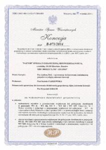 KONCESJA B 071 2014 - Naftor Sp. zo.o.