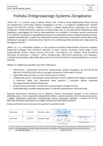 polityka zintegrowanego systemu zarzadzania - Naftor Sp. zo.o.